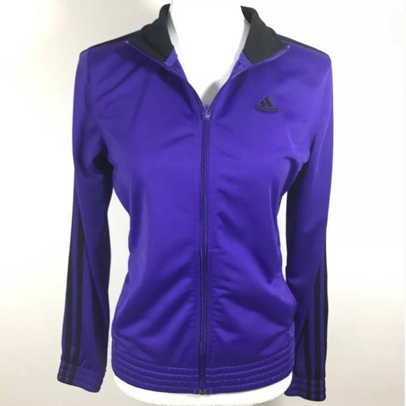 Adidas Track Jacket Size Small Purple Black